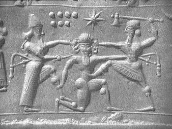 Gilgamesh and Enkidu fighting Humbaba