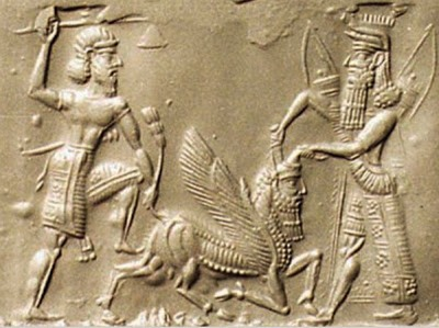 Gilgamesh and Enkido battles The Bull of Heaven